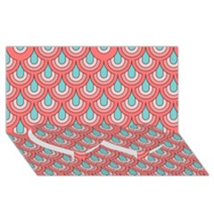 70s Peach Aqua Pattern Twin Heart Bottom 3d Greeting Card (8x4)