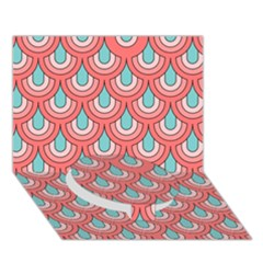 70s Peach Aqua Pattern Circle Bottom 3d Greeting Card (7x5)