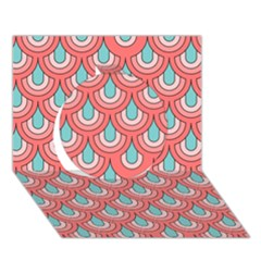 70s Peach Aqua Pattern Circle 3D Greeting Card (7x5)