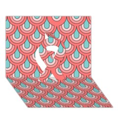 70s Peach Aqua Pattern Ribbon 3D Greeting Card (7x5)