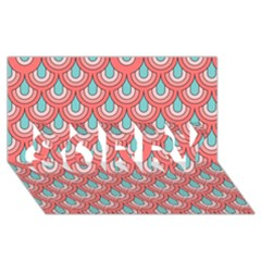 70s Peach Aqua Pattern Sorry 3d Greeting Card (8x4)
