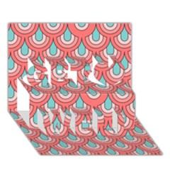 70s Peach Aqua Pattern Get Well 3d Greeting Card (7x5)