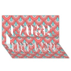 70s Peach Aqua Pattern Laugh Live Love 3D Greeting Card (8x4)