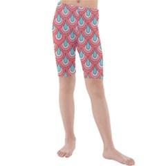 70s Peach Aqua Pattern Kid s swimwear