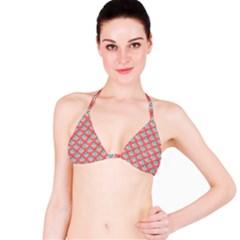70s Peach Aqua Pattern Bikini Tops