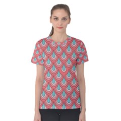 70s Peach Aqua Pattern Women s Cotton Tees