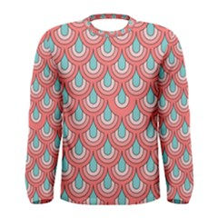 70s Peach Aqua Pattern Men s Long Sleeve T-shirts