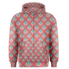 70s Peach Aqua Pattern Men s Zipper Hoodies