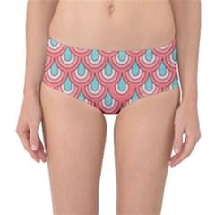 70s Peach Aqua Pattern Mid-Waist Bikini Bottoms