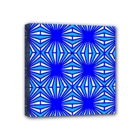 Retro Blue Pattern Mini Canvas 4  X 4