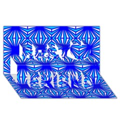 Retro Blue Pattern Best Friends 3D Greeting Card (8x4)