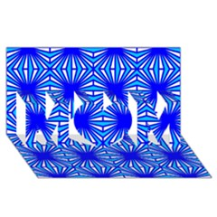 Retro Blue Pattern MOM 3D Greeting Card (8x4)