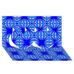 Retro Blue Pattern Twin Hearts 3D Greeting Card (8x4)