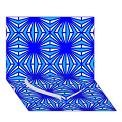 Retro Blue Pattern Heart Bottom 3d Greeting Card (7x5)
