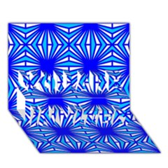 Retro Blue Pattern YOU ARE INVITED 3D Greeting Card (7x5)