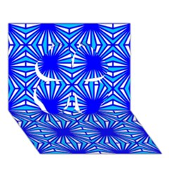 Retro Blue Pattern Clover 3D Greeting Card (7x5)