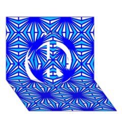 Retro Blue Pattern Peace Sign 3D Greeting Card (7x5)