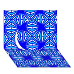 Retro Blue Pattern Circle 3d Greeting Card (7x5)