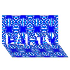 Retro Blue Pattern PARTY 3D Greeting Card (8x4)