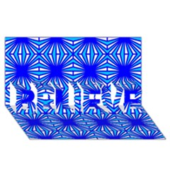 Retro Blue Pattern Believe 3d Greeting Card (8x4)