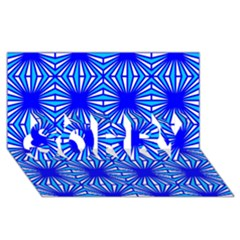 Retro Blue Pattern Sorry 3d Greeting Card (8x4)