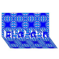 Retro Blue Pattern ENGAGED 3D Greeting Card (8x4)