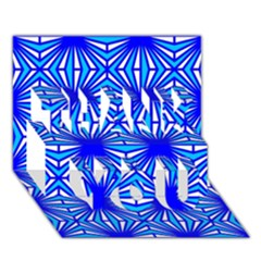 Retro Blue Pattern Thank You 3d Greeting Card (7x5)