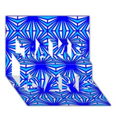 Retro Blue Pattern TAKE CARE 3D Greeting Card (7x5)