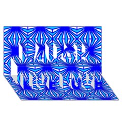 Retro Blue Pattern Laugh Live Love 3d Greeting Card (8x4)
