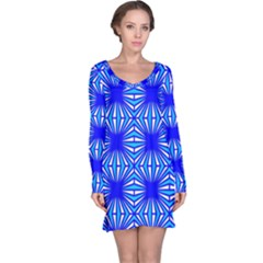 Retro Blue Pattern Long Sleeve Nightdresses
