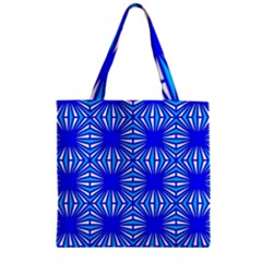 Retro Blue Pattern Zipper Grocery Tote Bags