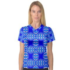 Retro Blue Pattern Women s V-Neck Sport Mesh Tee