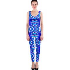 Retro Blue Pattern OnePiece Catsuits