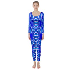 Retro Blue Pattern Long Sleeve Catsuit