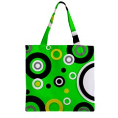 Florescent Green Yellow Abstract  Zipper Grocery Tote Bags