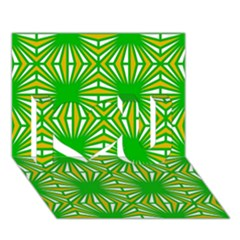 Retro Green Pattern I Love You 3D Greeting Card (7x5)