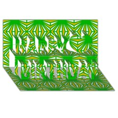 Retro Green Pattern Happy Birthday 3D Greeting Card (8x4)
