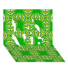 Retro Green Pattern LOVE 3D Greeting Card (7x5)