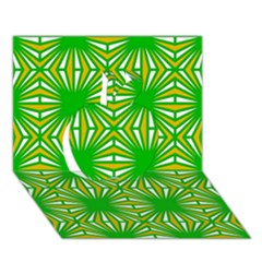 Retro Green Pattern Apple 3d Greeting Card (7x5)