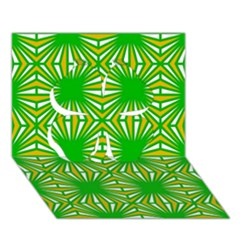 Retro Green Pattern Clover 3D Greeting Card (7x5)