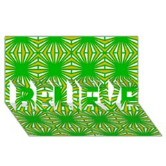 Retro Green Pattern Believe 3d Greeting Card (8x4)