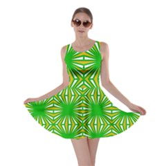 Retro Green Pattern Skater Dresses