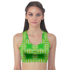Retro Green Pattern Sports Bra