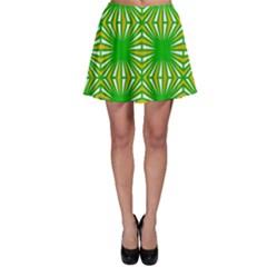 Retro Green Pattern Skater Skirts