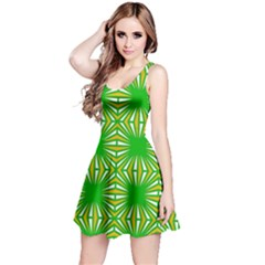 Retro Green Pattern Reversible Sleeveless Dresses