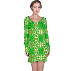 Retro Green Pattern Long Sleeve Nightdresses