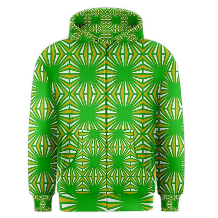 Retro Green Pattern Men s Zipper Hoodies