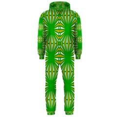 Retro Green Pattern Hooded Jumpsuit (Men)