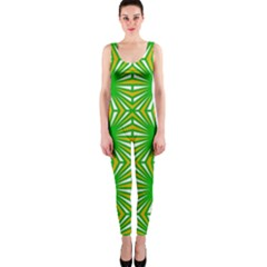 Retro Green Pattern OnePiece Catsuits