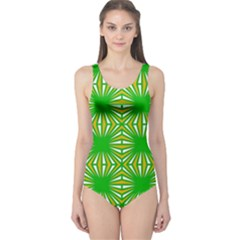 Retro Green Pattern Women s One Piece Swimsuits